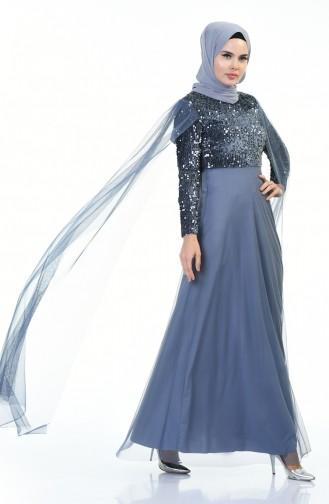 Sequined Tulle Evening Dress Indigo 3901-01