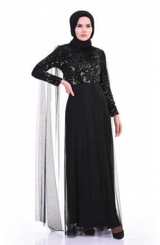 Sequined Tulle Evening Dress Emerald Green 3901-03