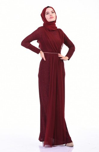 Silvery Evening Dress Bordeaux 3922-01