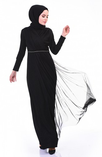Silvery Evening Dress Black 3922-02
