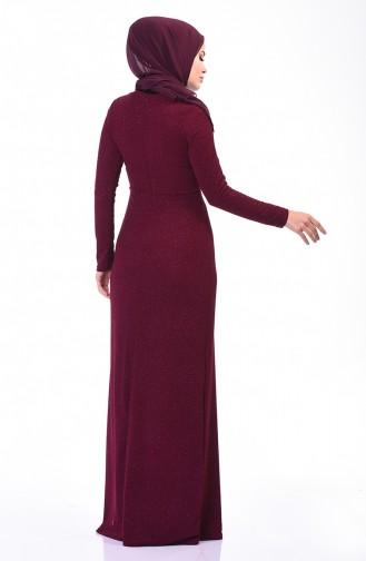 Silvery Evening Dress Damson 3922-03