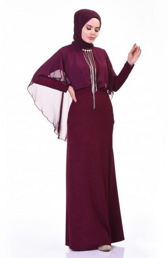 فستان سهرة بلمعة فضية مع بروش أرجواني داكن 3923-01