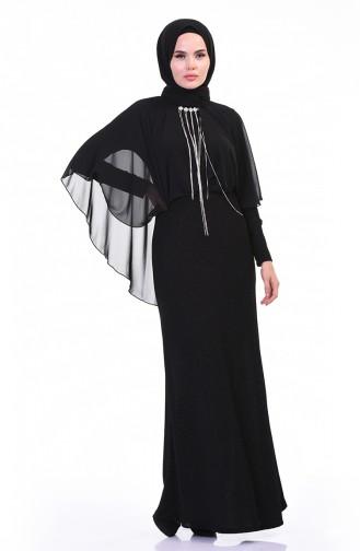 Brooch Silvery Evening Dress Black 3923-02