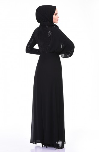 Chain Detailed Evening Dress Black 3932-03