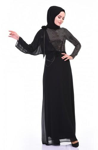 Zincir Detaylı Abiye Elbise 3932-01 Siyah Bakır 3932-01