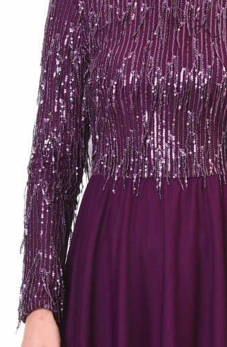 Robe de Soirée à Paillettes 3940-01 Pourpre 3940-01