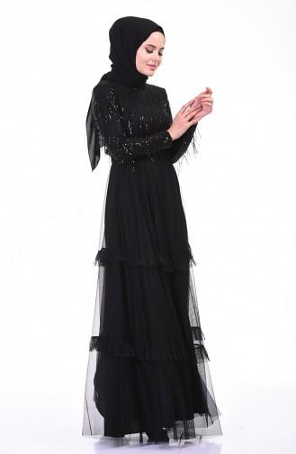 Robe de Soirée à Paillettes 3940-03 Noir 3940-03