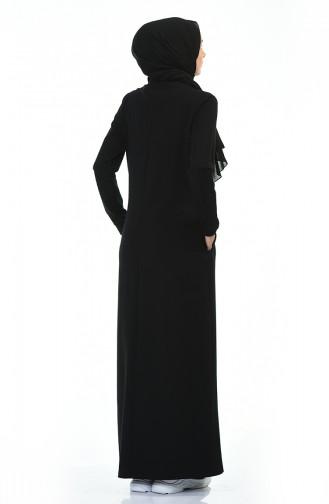 فستان رياضي منقوش أسود 9113-01