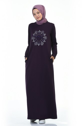 فستان رياضي منقوش بنفسجي 9113-02