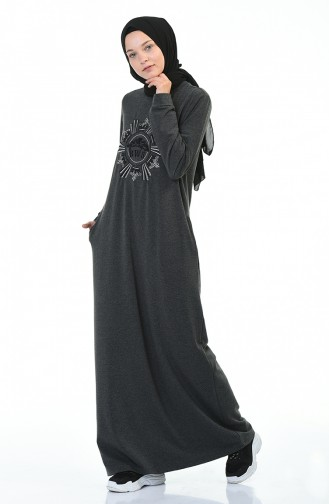 Patterned Sports Dress Anthracite 9113-04