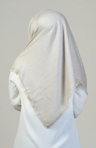 Dalga Desenli Kışlık Pamuk Eşarp 13128-10 Krem Bej 13128-10