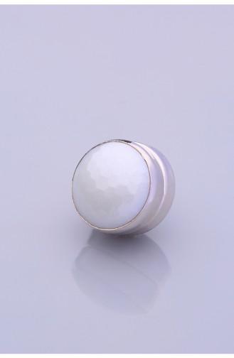 Beyaz Gümüş Kaplama Eşarp Mıknatısı 06-0824-39-10-T