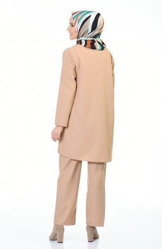 Tunik Pantolon İkili Takım 5247-10 Koyu Bej 5247-10