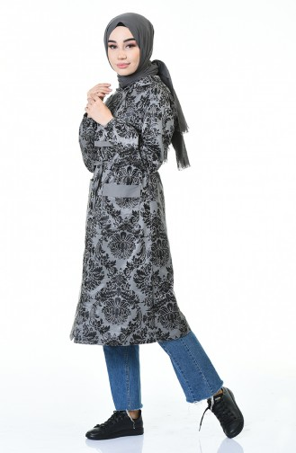 معطف بقبعة موسمي رمادي 2093-03