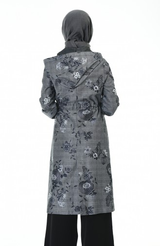 Flower Printed Cape Gray 2094-01