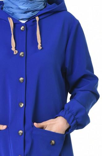 معطف رياضي بقبعة أزرق داكن 4306-01
