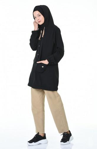 معطف رياضي بقبعة أسود 4306-02