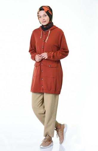 معطف رياضي بقبعة قرميدي 4307-02