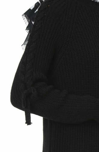 كنزة تريكو بتفاصيل أكمام أسود 4171-01