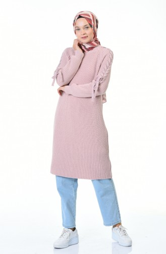 Tricot Sleeve Detailed Sweater Powder 4171-04