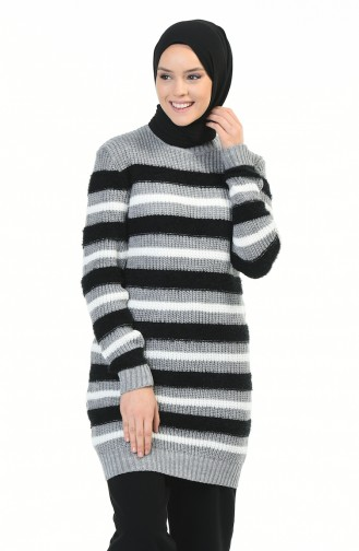 Tricot Silvery Sweater Gray Black 8039-02