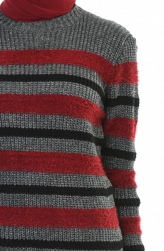 كنزة تريكو بلمعة فضية رمادي وأحمر كلاريت 8039-05