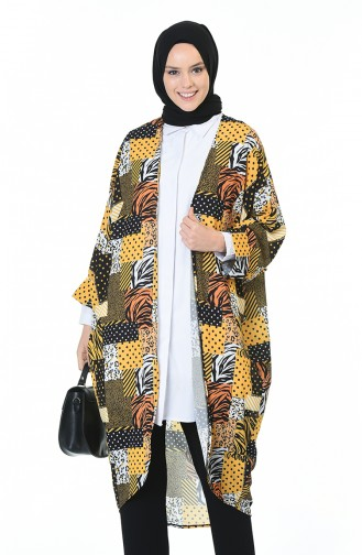 Desenli Kimono 0934-01 Hardal Siyah 0934-01