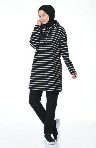 Sweatshirt a Capuche 9036-02 Noir Gris 9036-02