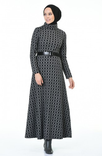 فستان بياقة مدورة شتوي بحزام رمادي 5488A-01