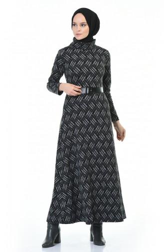 Balıkçı Yaka Kemerli Kışlık Elbise 5488B-01 Siyah Gri 5488B-01