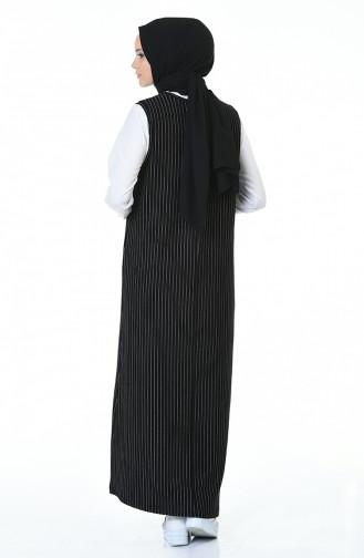 Striped Gilet Dress Black 0003-01