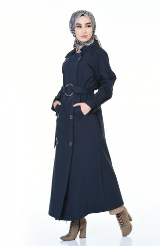 Buttoned Long Trench Coat Navy Blue 90004-01