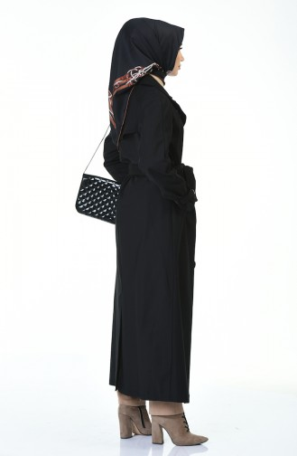 Buttoned Long Trench Coat Black 90004-03