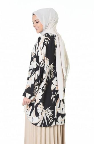 Yarasa Kol Desenli Tunik 0945-01 Siyah Bej