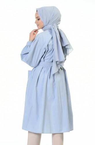 تونيك مطوي بحزام أزرق 5007-01