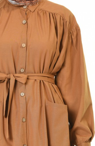 Shirred Belted Tunic Brown Tobacco 5007-02