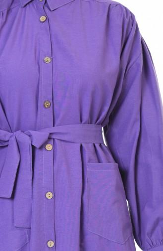 Shirred Belted Tunic Purple 5007-04