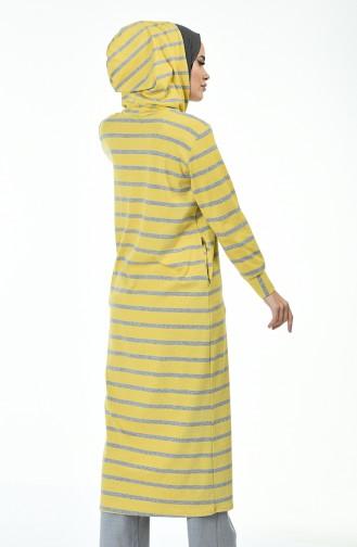 Striped Sports Long Tunic Yellow 0766-01