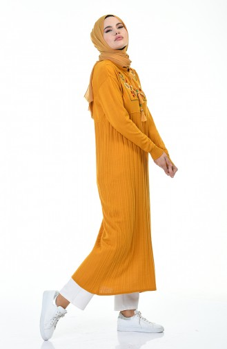 Nakışlı Triko Uzun Tunik 8019-03 Hardal 8019-03