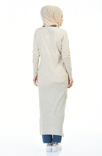 Embroidered Tricot Long Tunic Beige 8019-04