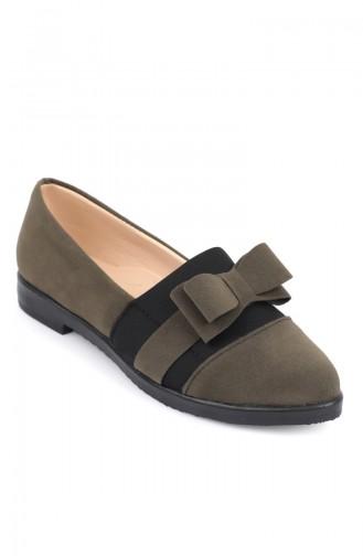 حذاء شامواه نسائي مزين بفيونكة أخضر 6902-2