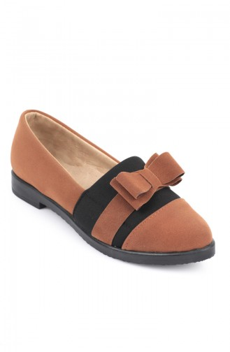 Women´s Bow Suede Shoes Brown Tobacco 6903-3