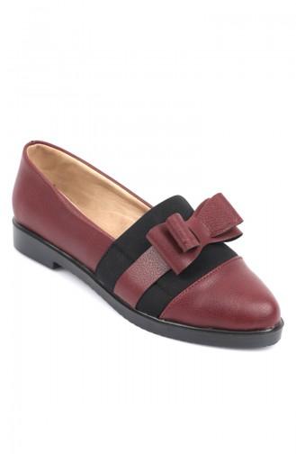 حذاء جلد نسائي مزين بفيونكة أحمر كلاريت 6904-4