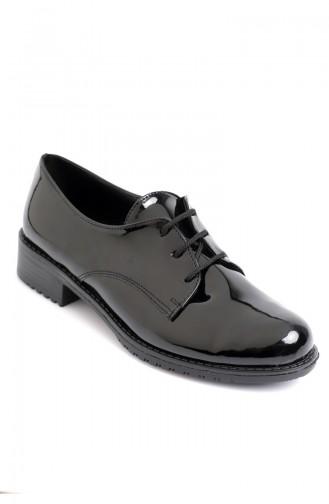 حذاء جلد لامع نسائي أوكسفورد أسود 6910-10