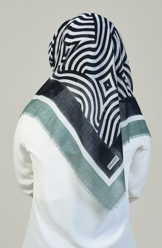 Patterned Cotton Scarf Green 2392-05