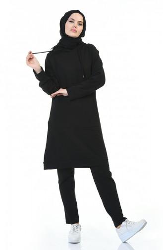 Kapüşonlu Eşofman Takım 17029-01 Siyah 17029-01