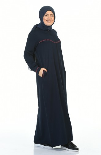 Big Size Zippered Sports Abaya Navy blue 99228-02