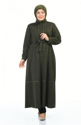 Abaya a Boutons et Ceinture Grande Taille 8219-01 Khaki 8219-01
