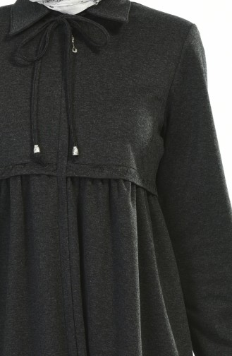 Fermuarlı Kışlık Ferace 8221-01 Siyah