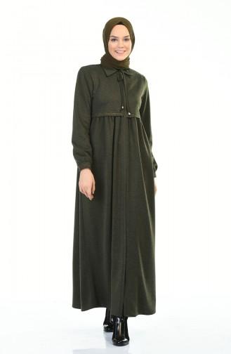 Winterliches Abaya mit Reissverschluss 8221-02 Khaki 8221-02